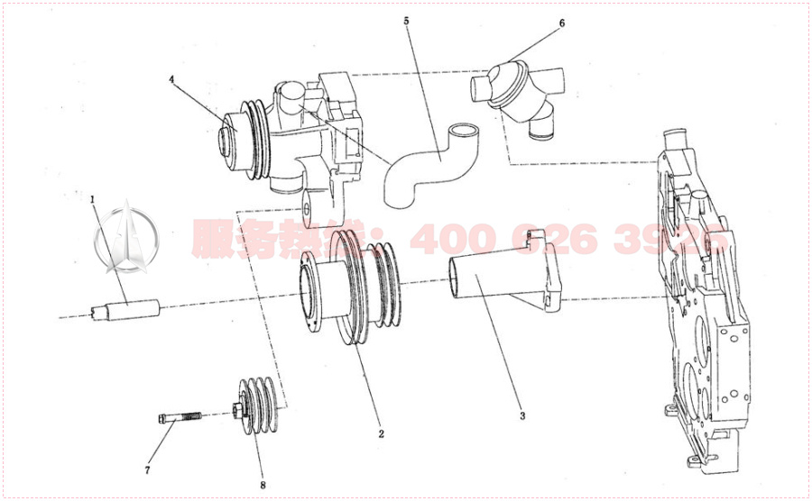 潍柴国三(wp10)发动机图册 九,水泵和风扇组件